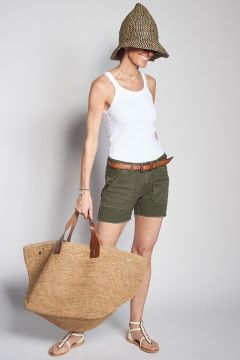 Green shorts with pockets