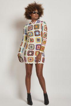 mini white crochet flower dress