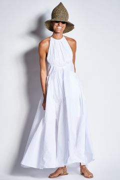 Long white dress with embroidered top