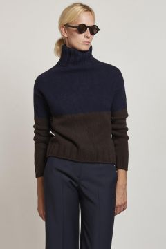 maglione dolcevita blue ed ebano