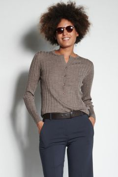 Dark brown melange ribbed sweater with buttons