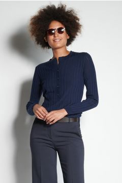 Blue ribbed sweater with buttons