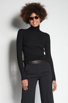 Black ribbed turtleneck sweater