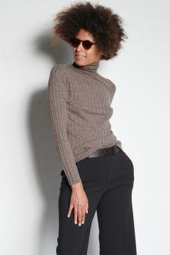 Dark brown melange ribbed turtleneck sweater