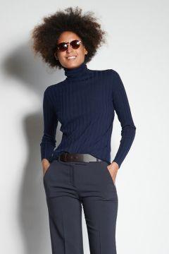 Blue ribbed turtleneck sweater