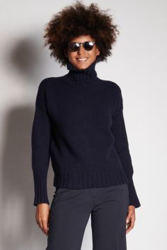Blue turtleneck with ribbed cuffs
