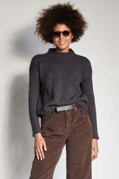 Mélange coffee sweater with ribbed cuffs