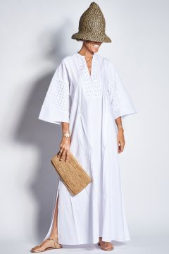 Long kaftan dress with embroidery