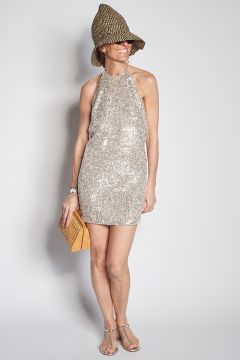 Sequin dress with neckline on the back