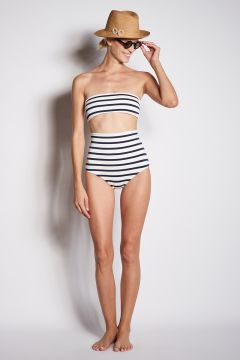 High waisted culotte swimwear with wide stripes