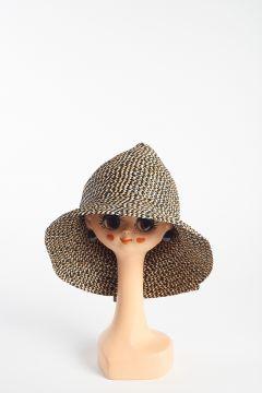 High head hat braided black and beige