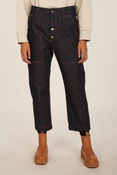 Pilot blue cropped dark denim pants