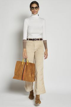 ivory velvet trousers with pockets