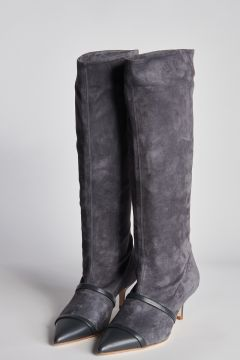 High gray suede boots