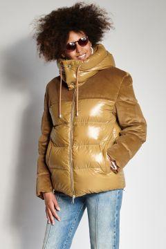 Down jacket plus ocher velvet