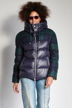 Down jacket plus blue plaid fabric