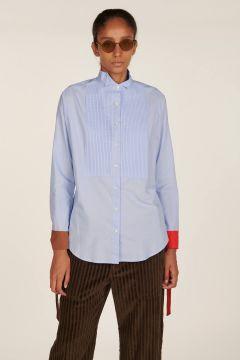 Camicia azzurra con polsini in seta Cecile