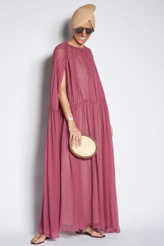 Long pleated silk dress