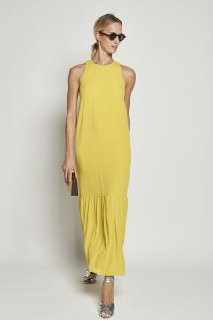 Long yellow dress with flounces