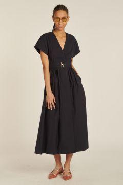 Cotton dress with waist belt
