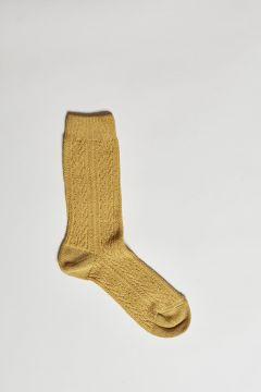 mustard lurex braid socks