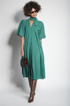 Green pleated dress
