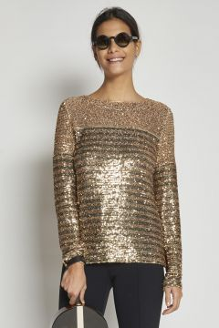 gold t-shirt with striped sequins