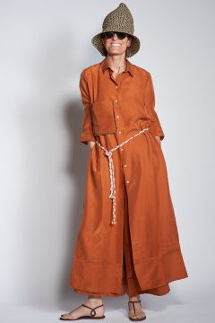 Tobacco silk long shirt