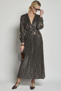 long sequin dress with puff sleeves