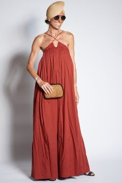 Long dress with crossed front