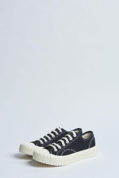 black canvas sneakers with rubber sole