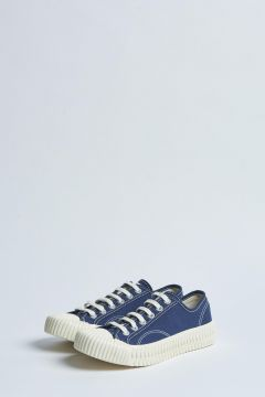 blue canvas sneakers with rubber sole