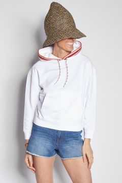 White sweatshirt with hood