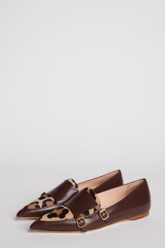 Leopard leather loafers with double buckle