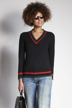 Black V-neck sweater with contrasting edges