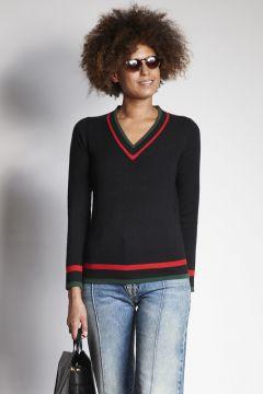 Maglione nero scollo a V con bordi a contrasto