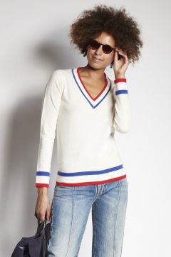 White V-neck sweater with contrasting edges