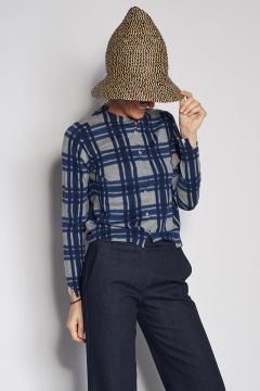 Blue and gray checked cardigan