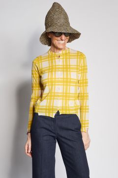 Yellow and white checked cardigan