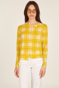 Ivory and yellow asymmetric checked cardigan