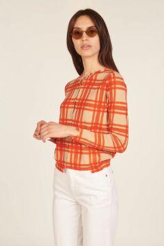 Beige and orange asymmetric checked cardigan