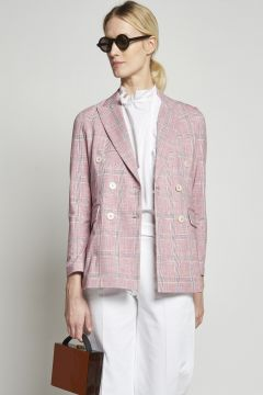 Double-breasted checked jacket
