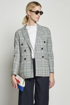 Gray checked double breasted jacket