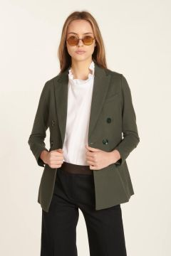 Green double-breasted tailored jacket in piquet fabric