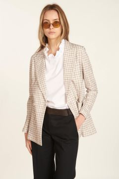 Double-breasted checkered tailored jacket