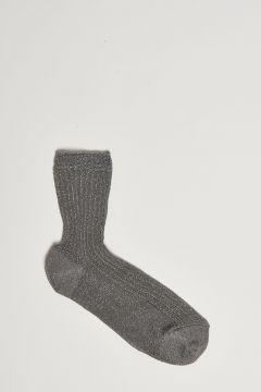 gray lurex ribbed sock