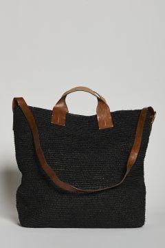 Black handbag or with raffia shoulder strap