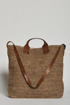 Dark tea handbag or with raffia shoulder strap