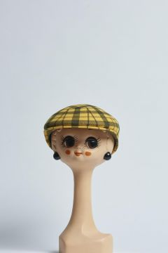 yellow and black checked flat cap