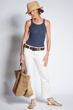Cropped ivory denim trousers